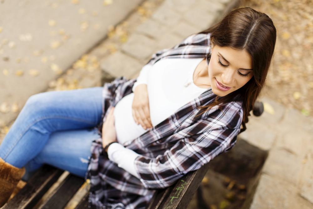 Беременная в парке