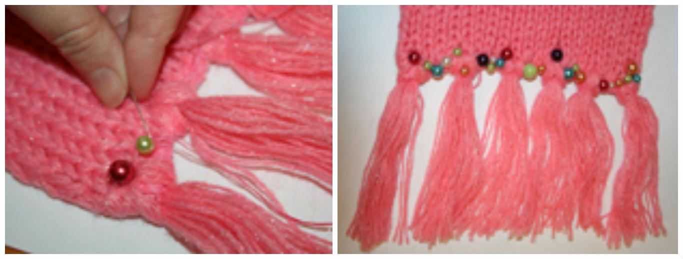 Украшаем шарфик для девочки