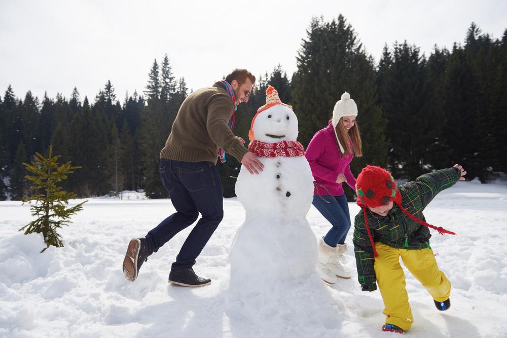 Семейная фотосессия в заснеженном парке - красиво и весело